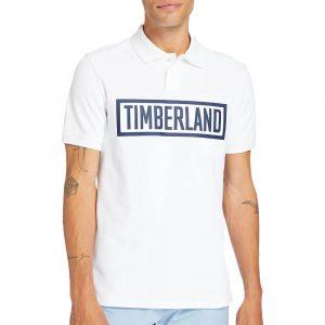 חולצת פולו טימברלנד לגברים Timberland Mink Brook Linear - לבן