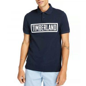 חולצת פולו טימברלנד לגברים Timberland Mink Brook Linear - כחול כהה