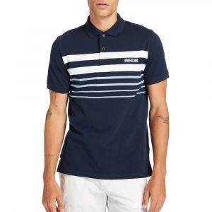 חולצת פולו טימברלנד לגברים Timberland Striped Polo - כחול