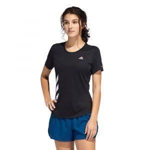חולצת אימון אדידס לנשים Adidas Run It 3-Stripes Fast Tee - שחור