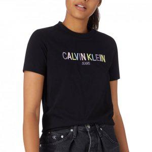 חולצת T קלווין קליין לנשים Calvin Klein Multicolored Logo - שחור