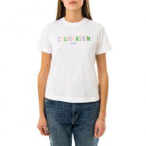 חולצת T קלווין קליין לנשים Calvin Klein Multicolored Logo - לבן
