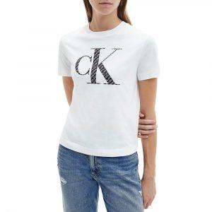 חולצת T קלווין קליין לנשים Calvin Klein Satin Bonded Filled - לבן/שחור