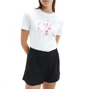 חולצת T קלווין קליין לנשים Calvin Klein Satin Bonded Filled - לבן