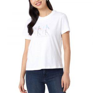 חולצת T קלווין קליין לנשים Calvin Klein Shine Logo Tee - לבן