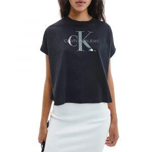 חולצת T קלווין קליין לנשים Calvin Klein Tonal Monogram Tee - שחור