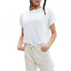 חולצת T קלווין קליין לנשים Calvin Klein Tonal Monogram Tee - לבן
