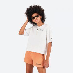 חולצת T צ'מפיון לנשים Champion Crewneck Crop-Top - לבן