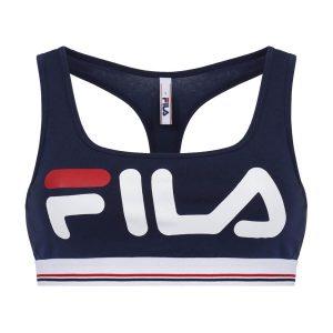 טופ וחולצת קרופ פילה לנשים Fila Logo Print - כחול כהה