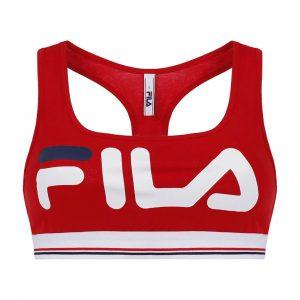 טופ וחולצת קרופ פילה לנשים Fila Logo Print - אדום