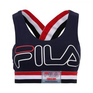 טופ וחולצת קרופ פילה לנשים Fila Logo Sport - כחול כהה