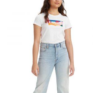 חולצת T ליוויס לנשים Levi's The Perfect Tee - לבן הדפס