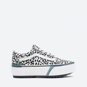 נעלי סניקרס ואנס לנשים Vans UA Old Skool Stacked - שחור/לבן