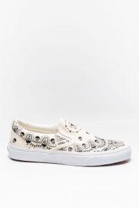 נעלי סניקרס ואנס לנשים Vans Classic Slip-On - לבן הדפס