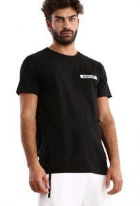 חולצת T ריפליי לגברים REPLAY CTN LYCRA - שחור/לבן
