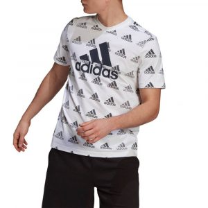 חולצת T אדידס לגברים Adidas Allover Print - לבן