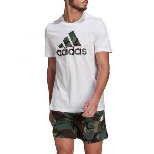 חולצת T אדידס לגברים Adidas Essentials Camouflage Print - לבן