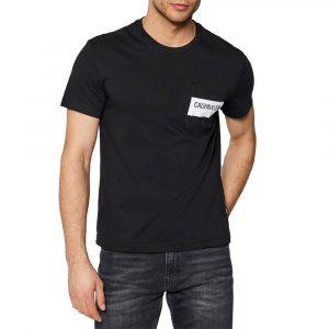חולצת T קלווין קליין לגברים Calvin Klein Bold Stripe Pocket - שחור