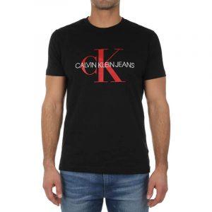 חולצת T קלווין קליין לגברים Calvin Klein CK Monogram Logo Slim Tee - שחור