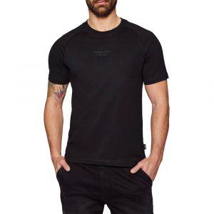 חולצת T קלווין קליין לגברים Calvin Klein Center Logo Stretch Tee - שחור