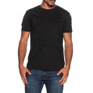 חולצת T קלווין קליין לגברים Calvin Klein Embossed Regular Tee - שחור