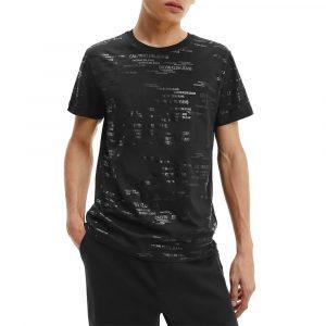 חולצת T קלווין קליין לגברים Calvin Klein Logo Aop Tee - שחור