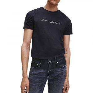 חולצת T קלווין קליין לגברים Calvin Klein Logo Tape Shoulder Tee - שחור