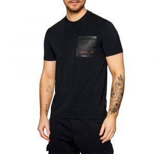 חולצת T קלווין קליין לגברים Calvin Klein Mesh Pocket Stretch - שחור