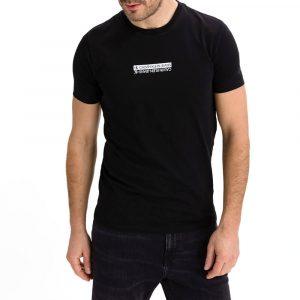 חולצת T קלווין קליין לגברים Calvin Klein Mirror Logo - שחור