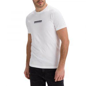 חולצת T קלווין קליין לגברים Calvin Klein Mirror Logo - לבן
