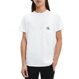 חולצת T קלווין קליין לגברים Calvin Klein Monogram Pocket - לבן