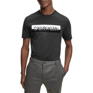 חולצת T קלווין קליין לגברים Calvin Klein Split Logo Tee - שחור