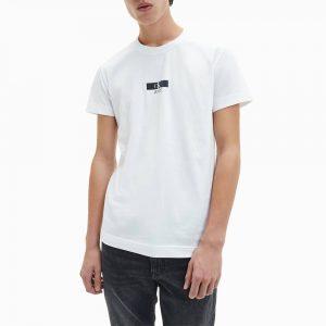 חולצת T קלווין קליין לגברים Calvin Klein Urban Iridescent Graphic Tee - לבן