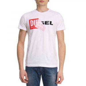 חולצת T דיזל לגברים DIESEL Double Logo - לבן