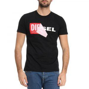 חולצת T דיזל לגברים DIESEL Double Logo - שחור