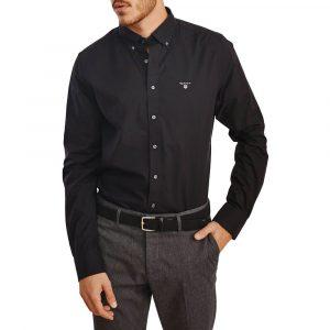 חולצה מכופתרת גאנט לגברים GANT Broadcloth - שחור