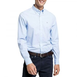 חולצה מכופתרת גאנט לגברים GANT Broadcloth - כחול
