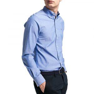חולצה מכופתרת גאנט לגברים GANT Broadcloth - תכלת