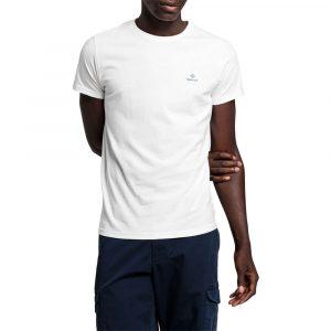 חולצת T גאנט לגברים GANT Contrast Logo Tee - לבן