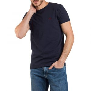 חולצת T גאנט לגברים GANT Contrast Logo Tee - כחול