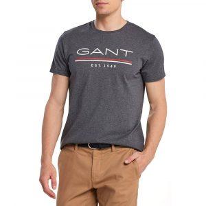 חולצת T גאנט לגברים GANT Est 1949 - אפור