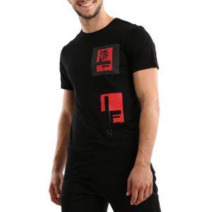 חולצת T ריפליי לגברים REPLAY Palm - שחור