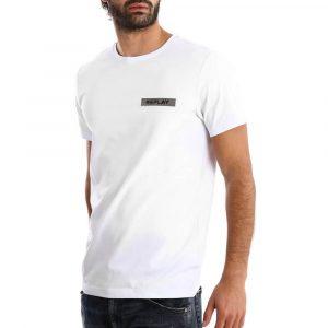 חולצת T ריפליי לגברים REPLAY CTN LYCRA - לבן