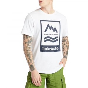 חולצת T טימברלנד לגברים Timberland Mountain-To-River - לבן