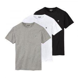 חולצת T טימברלנד לגברים Timberland THREE PACK ORGANIC COTTON - אפור