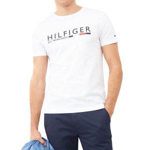 חולצת T טומי הילפיגר לגברים Tommy Hilfiger Corporate Stripe Tee - לבן