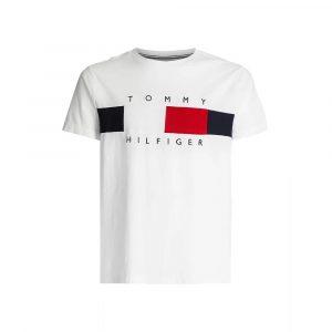 חולצת T טומי הילפיגר לגברים Tommy Hilfiger Textured Flag - לבן