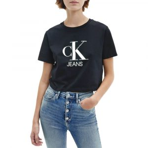 חולצת T קלווין קליין לנשים Calvin Klein Gel Print Monogram Logo Tee - שחור