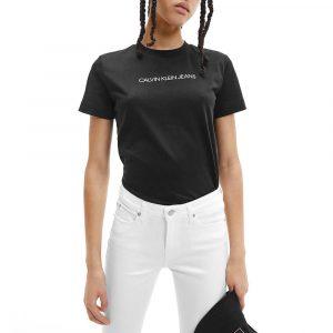 חולצת T קלווין קליין לנשים Calvin Klein Logo - שחור