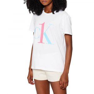 חולצת T קלווין קליין לנשים Calvin Klein Lounge - לבן